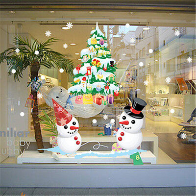 QT-0147 The Shop Window Snowman Christmas Tree for ceramic tile Wall Sticker