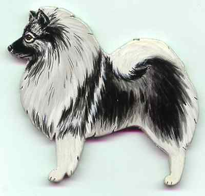 KEESHOND Wooden Dog MEMO MAGNET -  Hand Crafted !