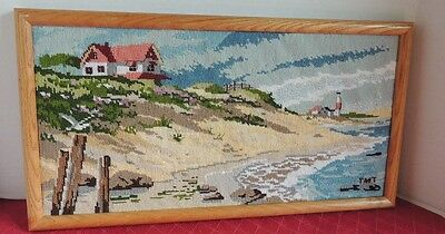 Completed Needlepoint Seascape Picture in Wooden Oak Frame