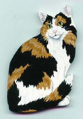 CAT Wooden MEMO MAGNET- CALICO - Hand Crafted!
