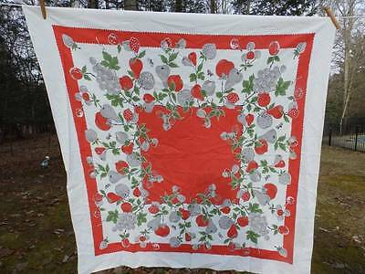 LOVELY VINTAGE 1950's TABLECLOTH~STRAWBERRIES~FRUIT~BUMBLE BEES
