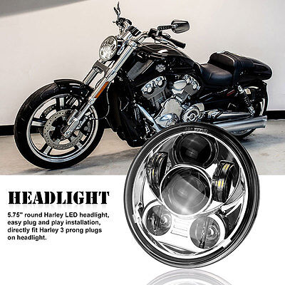 "5.75"" Projector Daymaker LED Light Bulb Motorcycle Headlight Chrome for Harley"