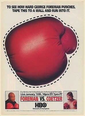 1993 George Foreman vs Pierre Coetzer Boxing Glove HBO Print Ad