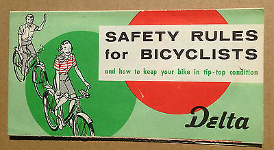 DELTA Bicycle Light Brochure Balloon Tire Bike Safety Rules Pamphlet