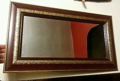 """000 25x14.5"""" Home Interiors Wall Hanging Mirror Wood Frame Gold Accents"""