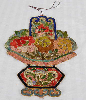 Antique Chinese Hand Embroidery Large Bowl Form Weave Stitch Hanging Badge