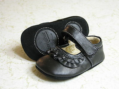 SEE KAI RUN BABY GIRLS MARY JANE BLACK LEATHER SHOES  SIZE 0-6 Months  ADORABLE!