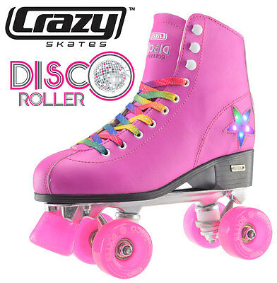 Crazy Disco Girls / Ladies Recreational High Top Roller Skates - Pink - Size 42