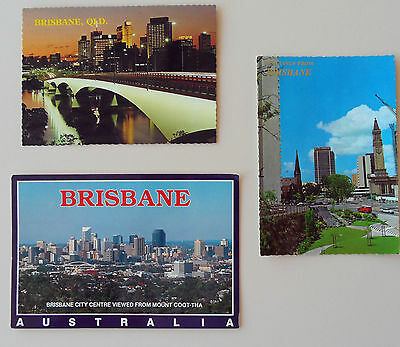 3 Brisbane Postcards One With 45c Stamp