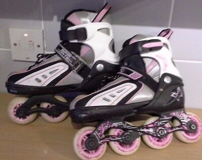 SFR Vortex Pink Adjustable Girl Inline Skates Size 12-2