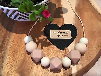 Silicone Sensory Baby (was teething) Necklace for Mum Jewellery Beads Aus Beige