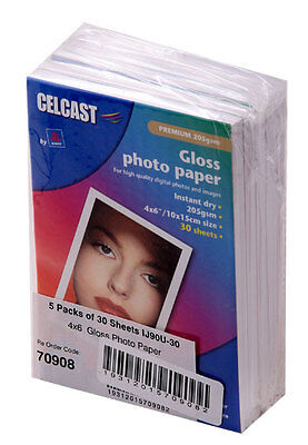 """3 x 5 Packs x 30 sheets 6""""x 4"""" Celcast Photo Gloss Paper 205gsm Total 450 sheets"""