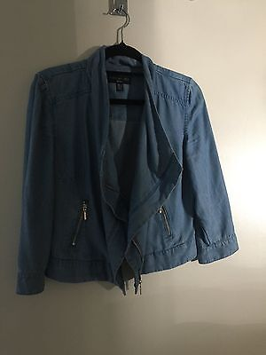 Forever New Denim Tencel Size 8 Waterfall Jacket As New