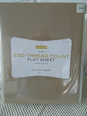 ONE NEW KING SIZE FLAT SHEET T250 108X102 100% COTTON kHAKI COLOR TARGET HOME
