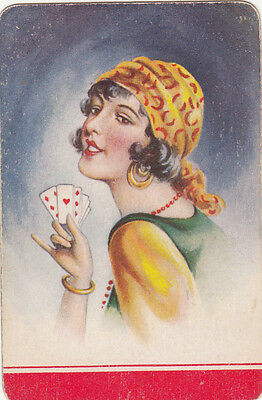 1 single vintage playing swap card -  Gypsy with cards