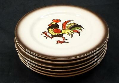 Set of 6 Metlox / Poppytrail 'Red Rooster' Salad Plates - No Res.