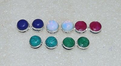 925 Silver Plated Wholesale 5Pair Turquoise & Mix Stone Big Studd Earring Lot