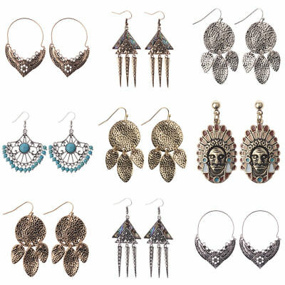 Charm Elegant Bohemian Boho Gold Silver Alloy Carved Flowers Women Hook Earrings