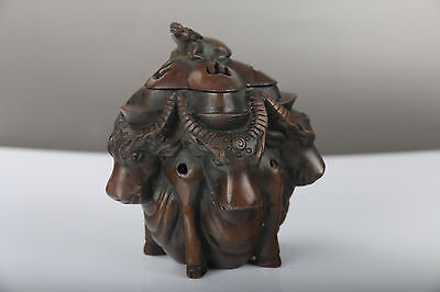 exquisite Chinese hand carved Pure copper Incense burner daqing mark  j299