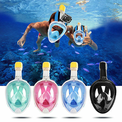Full Face GoPro Snorkeling Snorkel Mask Diving Swimming Goggles W/ Breather Pipe
