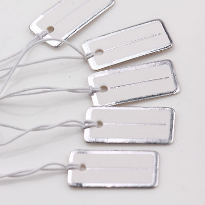 100pcs White Jewelry Craft Pricing Label String Price Tags Strung Swing 20X10mm