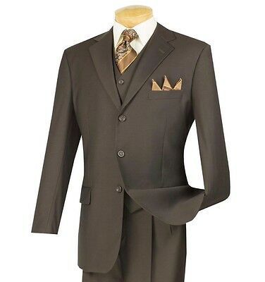 Men's Brown 3 Piece 3 Button Classic-Fit Suit w/ Matching Vest NEW