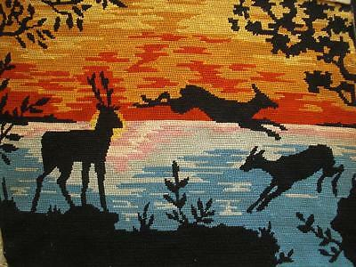 """VINTAGE completed cotton needlepoint deer in the sunset tapestry 19""""x14"""""""