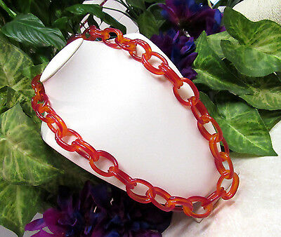 Vintage Tortoise Shell Large Celluloid Chain Link Necklace