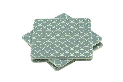 "SET OF FOUR (4) Slim Drink Coasters Resin Square 10cm ""Siren"" Scales Grey White"