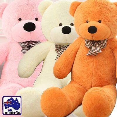 2m Large Huggable Plush Toy Teddy Bear Bow Tie Doll White Brown Pink GBEA3132