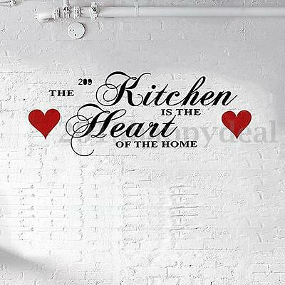 The Kitchen Is The Heart Of The Home Vinyl Wall Quote Sticker Art Decal Decor UK