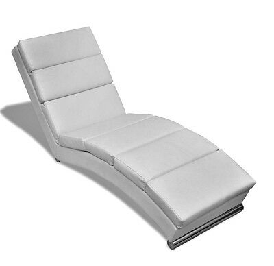 Chaise Longue Lounger Furniture White Artificial Leather Sofa Bed Elegant Seater