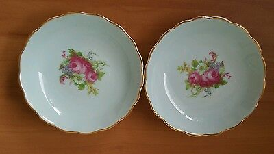 Two Beautiful Foley 1850 Vintage Porcelain  Bouquet Rose Pin Dishes England