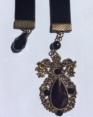 Stunning Velvet Bookmark w/- Antique Bronze Charm, Aussie Made, book mark
