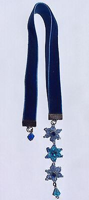 Stunning Velvet Bookmark with Handmade Blue Bead Flowers, Aussie Made, book