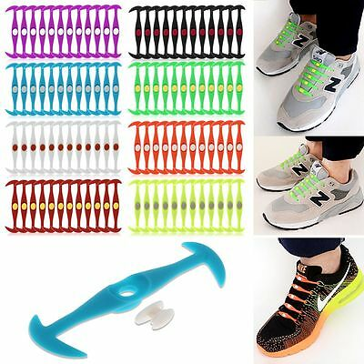 12 Pcs Cool Elastic Silicone Easy No Tie Shoelaces Shoe Lace Set for Kids Adults