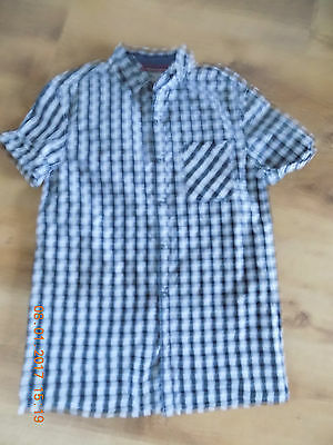 Next Boys Short Sleeve Shirt In White And Black, Size 12 Years Old, 100% Cotton