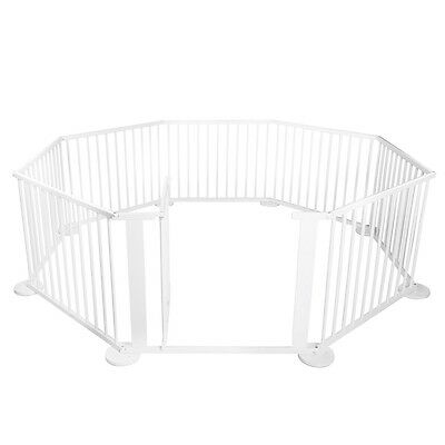 Large 8 Panel Kids Baby Playpen Divider Toddler Wooden Safety Gate White