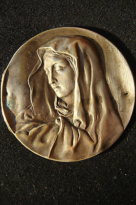 Virgin Mary Vintage France Beautiful Small Silvered Bronze  Icon