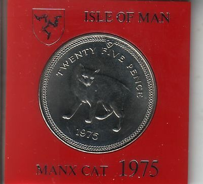 IOM Isle of Man Manx 1975 QE II Crown 25p  Manx Cat Cased - Uncirculated.