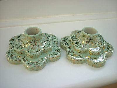 Wade Pair of Candle Holders, Pale Green & Gilded