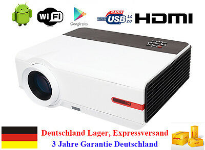 Android Wifi 5000 Lumen 1080P Heimkino Projektor HDMI USB VGA LED Video Beamer