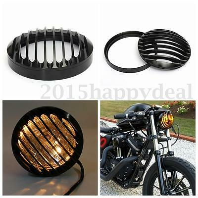 6''Black CNC Aluminum Motorcycle Bullet Halogen Headlight Grill Cover For Harley