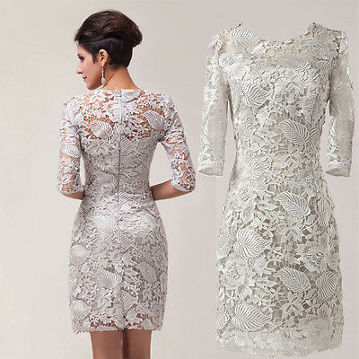 Elegant Vintage Lace Mother of The Bride Wedding Party Gown Dress Formal Weeding