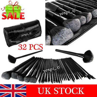 Professional 32 Piece Kabuki Make Up Brush Set and Cosmetic Brushes Case UK