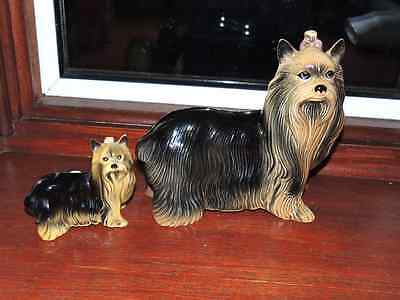 Two Yorkshire Terrier Ornaments -  Mother & Puppy