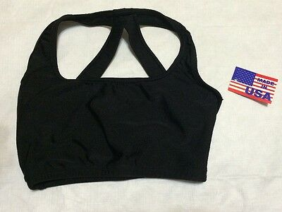 NWT Dance Bra Top Adult Small AS Black Bal Togs Dance Top