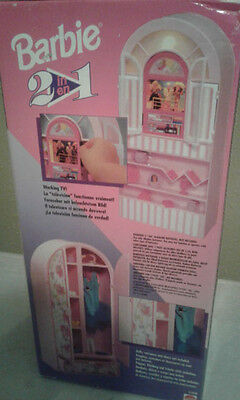 Barbie Vintage 2 in 1 Armoire and TV stand Unopened- 2 Sided Furniture- European