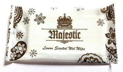 500 x MAJESTIC LEMON SCENTED FRESH HAND WET WIPES HOT OR COLD TOWELS NAPKINS
