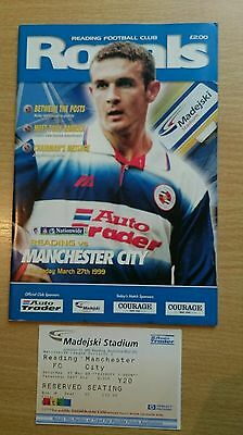 Reading v Manchester City programme and ticket, League Division 2 1998/99